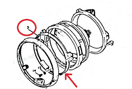 Yamaha XS650 '77-'83 HEADLIGHT RETAINING RING